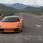 Phantom 3 Races Sports Car in Along Mountain Road